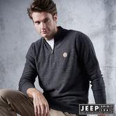 【JEEP】開襟圓領刷毛長袖針織衫 (深灰色)