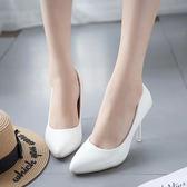 大尺碼涼鞋黑色圓頭高跟女細跟裸色中跟大碼單鞋優雅職業7cm mc8180『東京衣社』