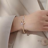 高級感手鐲女18K金手錬ins小眾設計新款鈦鋼鐲子簡約時尚水晶首飾