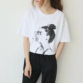 短袖T恤-圓領韓系休閒女孩素描印花女上衣73sy48[巴黎精品]