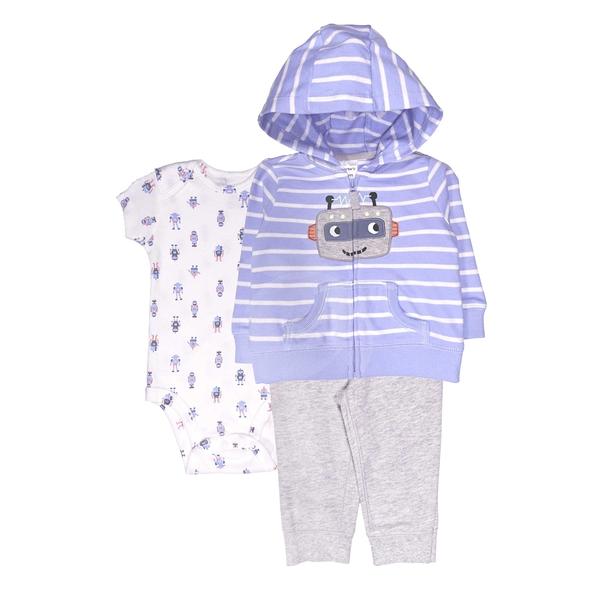 男寶寶套裝三件組 薄連帽外套+短袖包屁衣+長褲 藍機器人 | Carter s卡特童裝 (嬰幼兒/小孩/baby)