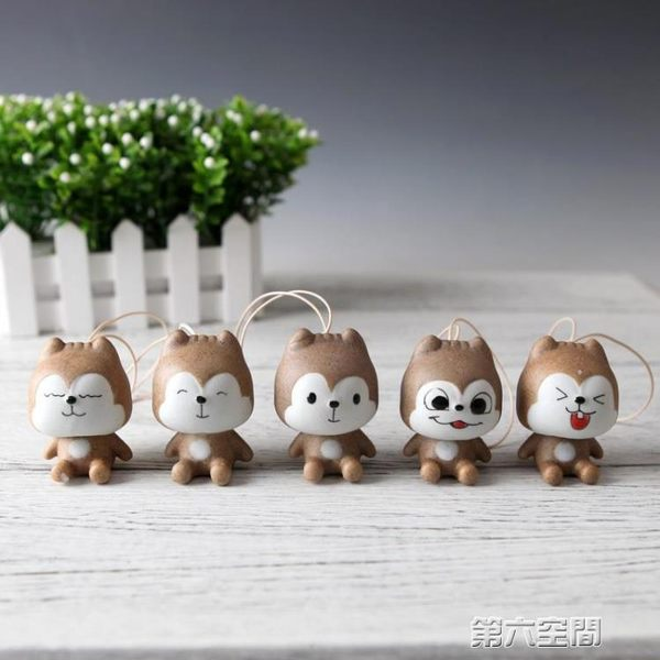 風鈴 陶瓷小鬆鼠風鈴雙節可愛萌物創意陶瓷掛飾小掛件包掛情侶小禮物 第六空間