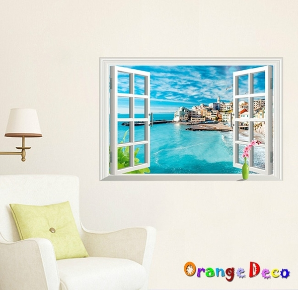 壁貼【橘果設計】窗外地中海 DIY組合壁貼 牆貼 壁紙 室內設計 裝潢 無痕壁貼 佈置