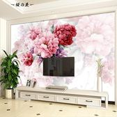 手繪花朵壁紙電視背景墻紙