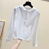 2021秋裝新款女寬鬆百搭竹節棉t恤女白色上衣長袖T恤打底衫連帽潮 米娜小铺