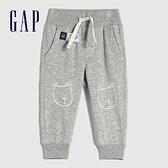 Gap嬰兒 碳素軟磨系列 法式圈織童趣運動休閒褲 690716-淺灰色