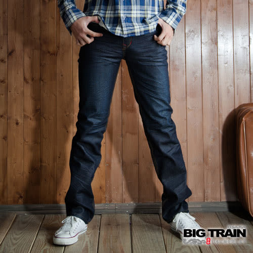 BIG TRAIN 墨達和柄小直筒-男-深藍