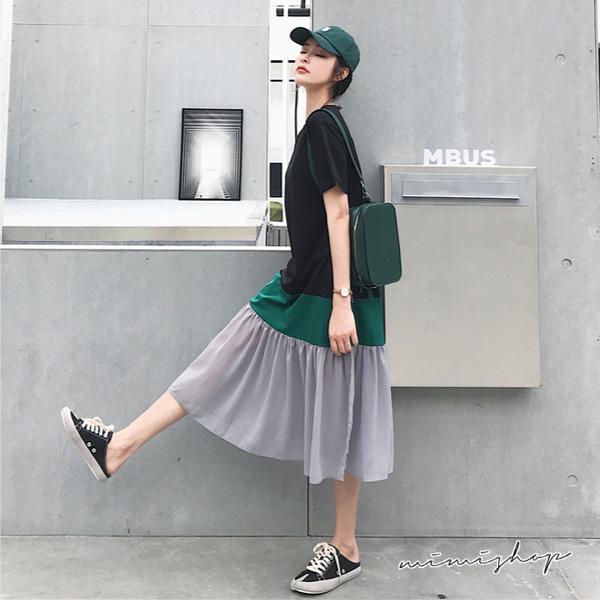 孕婦裝 MIMI別走【P521101】休閒有型 撞色棉質拼接雪紡連身裙 孕婦裙 洋裝