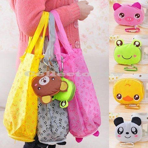 卡通造型拉鍊可折疊購物袋 可愛環保袋 便攜防水帶 掛鉤收納袋 (顏色隨機出貨)