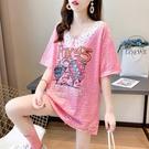 網紅ins超火短袖t恤女夏韓版寬鬆中長款娃娃領亮閃閃大版上衣服潮 依凡卡時尚