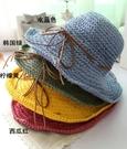 高品質 女 夏天韓版防紫外線 防曬草帽禮帽 蝴蝶結大簷帽可折疊