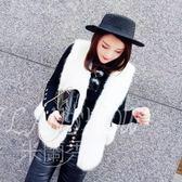 背心 韓版時尚兩邊蝴蝶結綁帶仿雪狐毛馬甲