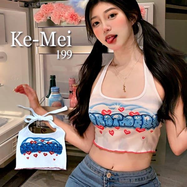 克妹Ke-Mei【AT69345】bop滿版愛心字母印花吊頸後綁帶小可愛