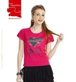 【瑪蒂斯】流行彩繪金蔥愛心骷顱 女款短袖V領印花奈米竹炭排汗T恤 T2609 玫瑰桃