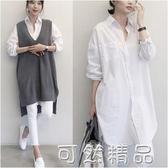 韓國東大門秋冬款寬鬆bf風大版棉中長款白色襯衫女大碼長袖襯衣女 可然精品