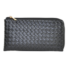 【Miyo】經典壓編織紋拉鍊護照夾(黑)