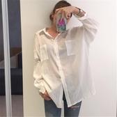 防曬襯衫女韓版中長款寬鬆薄款透視棉麻上衣
