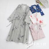 情侶夏季純棉雙層紗布睡裙開衫日式浴衣和風女睡袍男浴袍大碼碎花