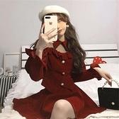 年會禮服 春新款女過年紅色套裝拜年金絲絨年會禮服新年戰裙連衣裙【快速出貨八折鉅惠】