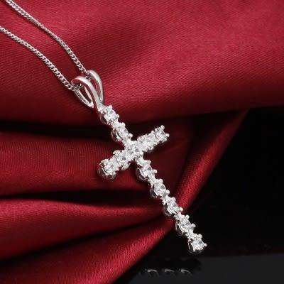 925純銀項鍊+鑲鑽吊墜-經典十字架生日情人節禮物女配件73df19【時尚巴黎】