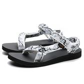 TEVA 涼鞋 W 白 黑 藍灰 街頭 織帶 涼拖鞋 拖鞋 女 (布魯克林) TV1003987ZWHT