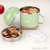 304不銹鋼保溫飯盒小學生女便當盒2層成人飯缸兒童餐盒碗帶蓋韓國 莫妮卡小屋