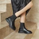 真皮女鞋34-40 2020韓版優雅顯瘦百搭頭層牛皮圓頭低跟切爾西靴 短靴子 ~2色