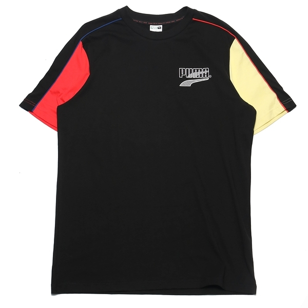 PUMA 上衣 短T DECOR8 黑紅黃 拼接 短袖T 男 (布魯克林) 53108401