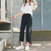 2018夏季新款時尚百搭高腰顯瘦七分燈籠褲