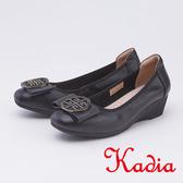 kadia .圓型飾扣楔型厚底真皮跟鞋9517 90 黑色