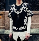 FINDSENSE品牌 男 時尚 街頭 潮 特色印花 黑白配色 拼接 長袖T恤