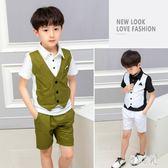 花童套裝男童 禮服套裝夏季花童兒童主持人小西裝男孩帥氣演出服 LJ2133【優品良鋪】