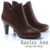 ★2017秋冬★Keeley Ann甜美性感~側邊V型修飾真皮高跟短靴(棕色)