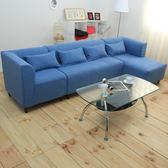 伊登 傑斯 L型獨立筒組合式沙發(藍-右扶手)