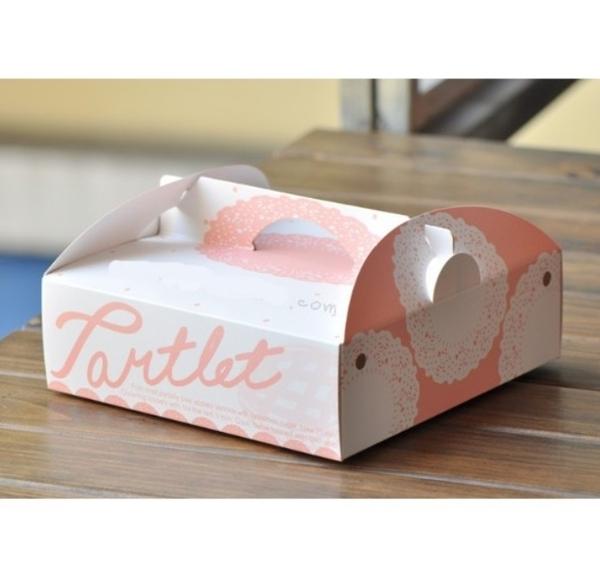8吋 粉橘手提塔盒 附彩色底托 乳酪蛋糕盒 乳酪盒【C109】芝士蛋糕盒 披薩盒派盒 外帶手提盒
