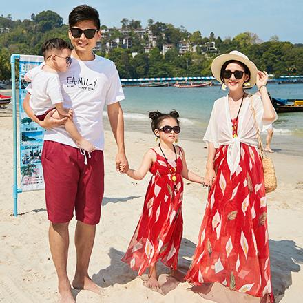 韓版沙灘風情短袖套裝親子裝(男大人)