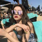 太陽眼鏡 韓國網紅同款女近視復古度假風沙灘偏光太陽眼鏡墨鏡圓臉方框  城市玩家