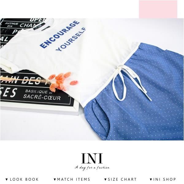 【INI】舒適自在、拼接牛仔棉布雙口袋抽繩長版上衣.白色
