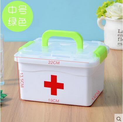 雨露 家庭小醫藥用多層急救藥品收納箱盒家用塑料-(中號綠色)炫彩店