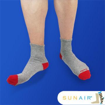 sunair 滅菌除臭襪子-自行車運動薄襪 短筒 (L25~29) (灰+紅) /SA3102