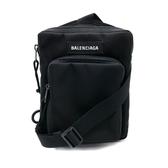 【台中米蘭站】全新品 BALENCIAGA Explorer 帆布雙拉鍊斜背包(593651-黑)