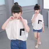 女童夏新款短袖襯衫中大童純棉麻蝙蝠衫