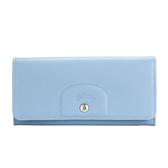 LONGCHAMP Le Pliage Cuir賽馬logo烙印軟皮革扣式長夾(粉藍)480814-A30