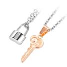 《QBOX 》FASHION 飾品【C21N1931】精緻個性百搭誓言之鎖&鑰匙情侶鈦鋼墬子項鍊/掛飾