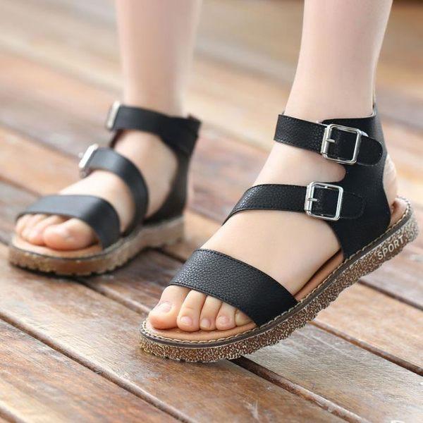 兒童女涼鞋兒童公主鞋寶寶沙灘鞋新款涼鞋羅馬鞋【中秋節八折】