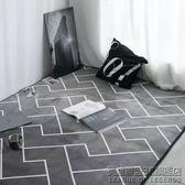 北歐簡約灰色幾何線條短絨地墊瑜伽爬行墊客廳臥室滿鋪大 地毯 IGO