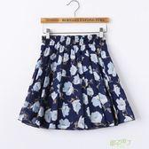 夏季雪紡半身裙女大尺碼短褲裙防走光百褶蓬蓬裙短裙褲碎花沙灘裙子
