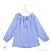 【INI】自在造型、綁繩領設計青春甜美上衣.藍色