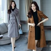風衣 大衣-中長版英倫時尚大方雙排釦女外套2色73pt32【巴黎精品】