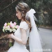 超仙森系新娘結婚造型旅拍蝴蝶結頭紗婚紗禮服配件婚禮拍照頭飾品 雙十二全館免運
